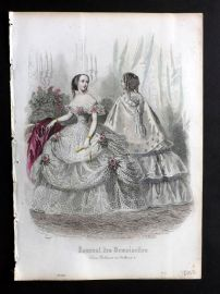 Journal des Demoiselles C1850 Antique Hand Col Fashion Print 46